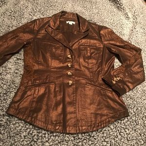 Coldwater Creek Glittery Brown Embroidered Jacket